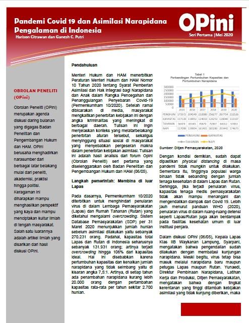 Pandemi Covid 19 dan Asimilasi Narapidana Pengalaman di Indonesia